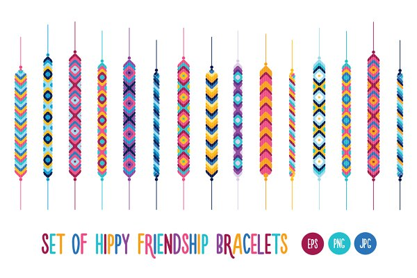 Set of hippy friendship bracelets