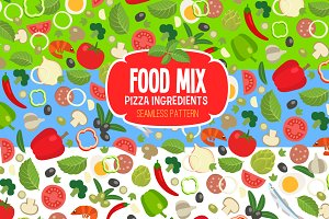 Pizza Ingredients Patterns Set