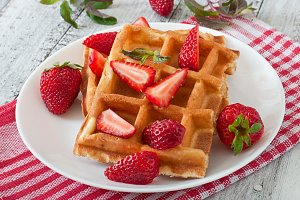 Belgium waffles with strawberries