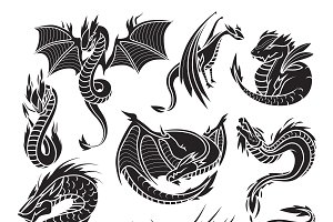 Chinese black dragon silhouettes