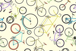 Racing retro bikes vector pattern