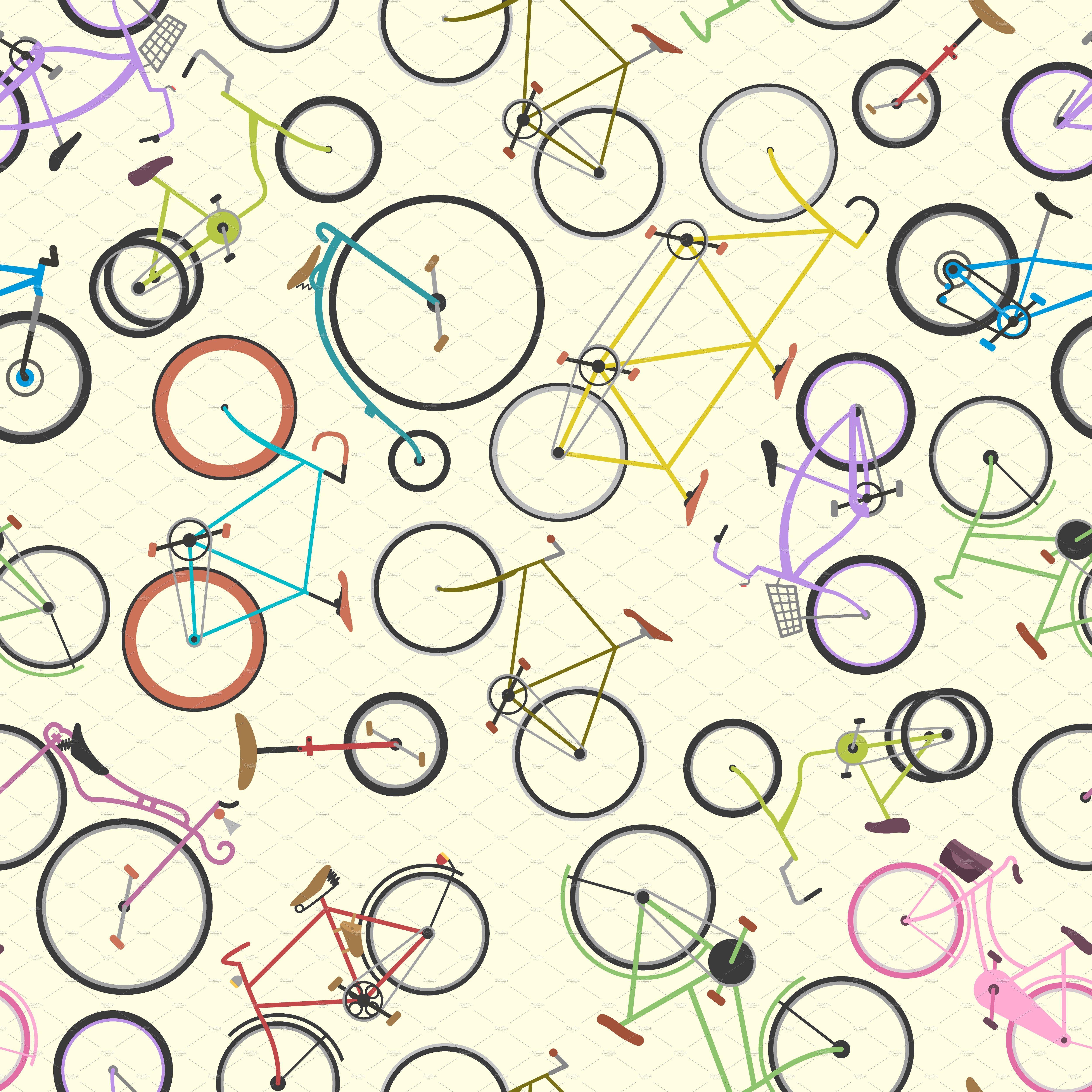 Racing Retro Bikes Vector Pattern