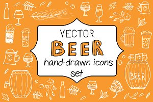 -70off Vector sketch Beer set