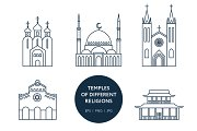 Set of world's religions temples
