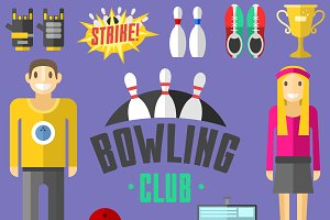 Vector colorful bowling icons