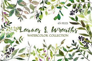 Leaves and Wreaths Watercolor Set