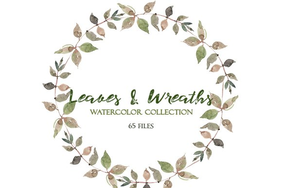leaves and wreaths watercolor set illustrations creative market