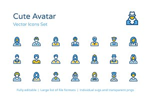 75+ Cute Avatar Icons Set