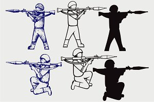 Shoot with bazooka SVG