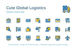 100+ Global Logistic Icons Set
