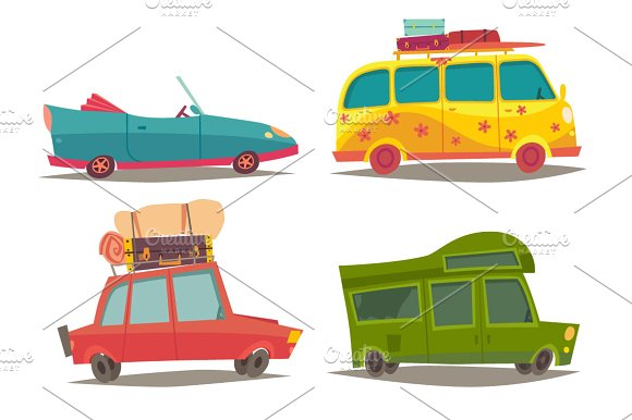 Traveling By Car Family Holiday Graphic Objects Creative Market