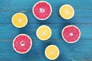 Grapefruit and Oranges on Blue