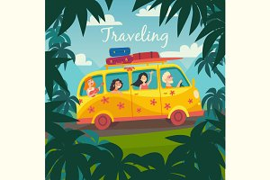 Summer trip by bus illustration