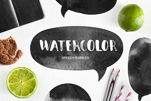 Watercolor speech bubbles & splashes