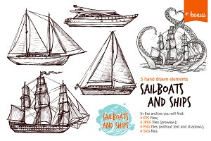 Sailships and boats sketch set
