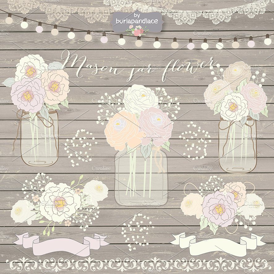 Vector Mason Jar Wedding Illustrations Creative Market