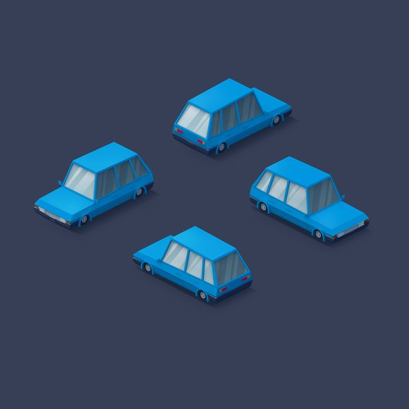 Low Poly 2D Cars in Objects - product preview 1