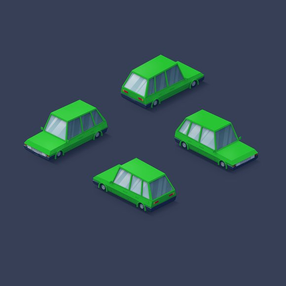 Low Poly 2D Cars in Objects - product preview 3