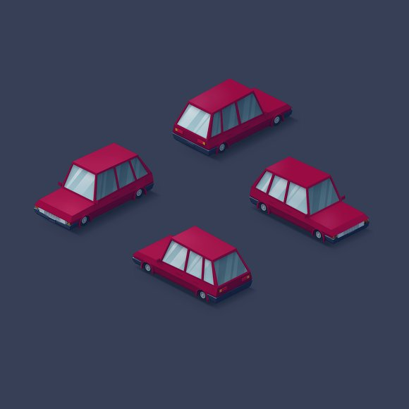 Low Poly 2D Cars in Objects - product preview 8