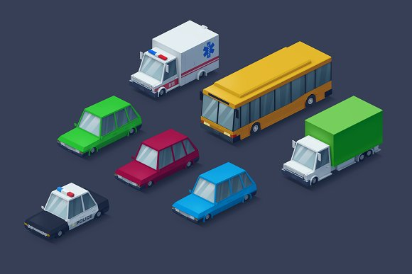 Low Poly 2D Cars