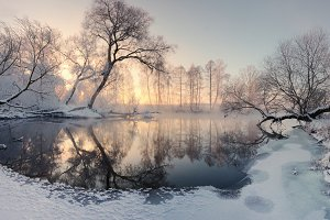 Winter frozen lake