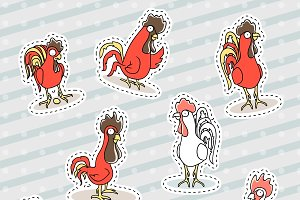 Rooster, chicken sticker patch