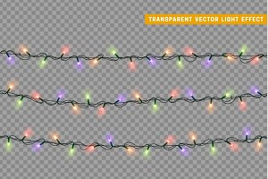 Christmas lights, garlands colorful
