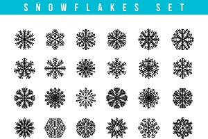 Set 24 snowflakes. Winter objects