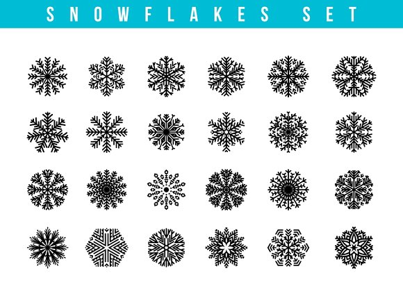 Set 24 Snowflakes Winter Objects