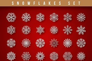 Set 24 white different snowflakes