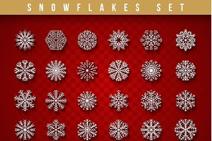 Set 24 white  snowflakes