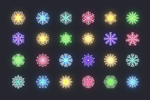 Set 24 multicolored snowflakes