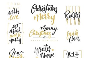 Calligraphy text Merry Christmas