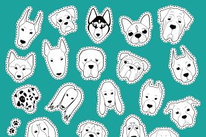 Patches set dog of stickers