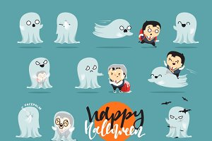 Set of ghosts on Halloween