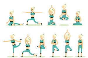 Women posing pose yoga