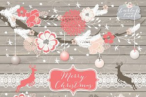 Christmas deer/flower cliparts