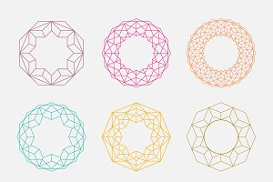 Colorful mandalas. Circle shapes.