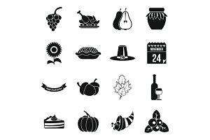 Thanksgiving icons set, simple style