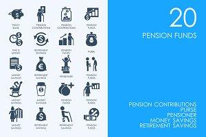 Retirement savings icons