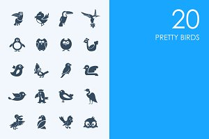 Pretty birds icons