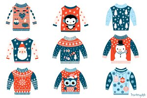 Blue and red ugly Christmas sweaters