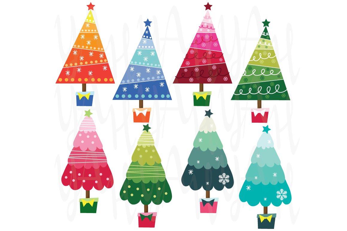 colorful christmas tree illustrations creative market - Colorful Christmas Trees