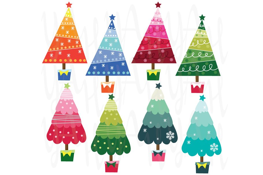 Colorful Christmas.Colorful Christmas Tree Illustrations Creative Market