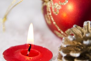 Christmas candle and Christmas ornament card
