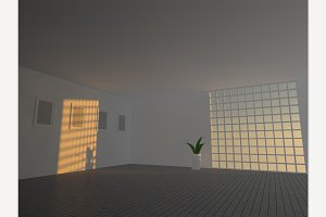 Large empty room 3D rendering