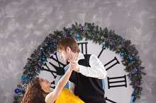 Couple dancing. Christmas party.