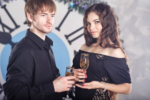 Couple, wine, Christmas