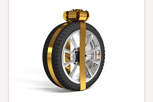 Wrapped Tire. 3d rendering