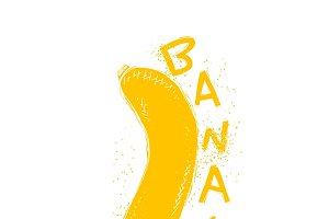 Yellow Banan with the word handmade